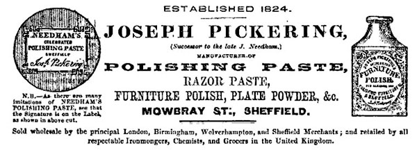 Joseph Pickering 1864 advert