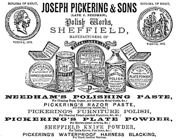 Joseph Pickering & Sons 1876 advert