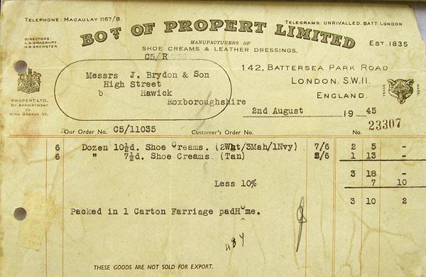 properts receipt 1945