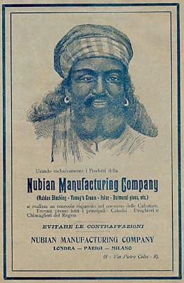 Nubian Italian advert 1904