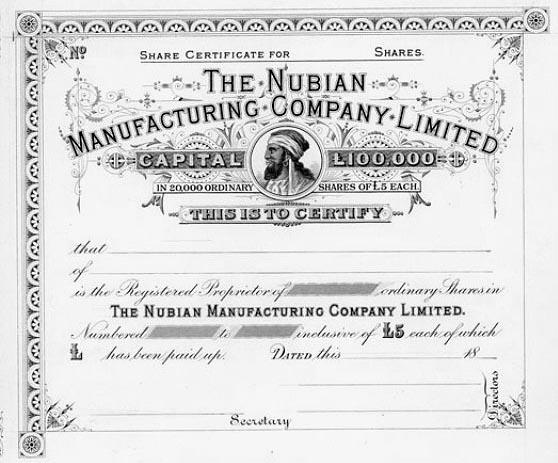 Nubian share certificate 1886