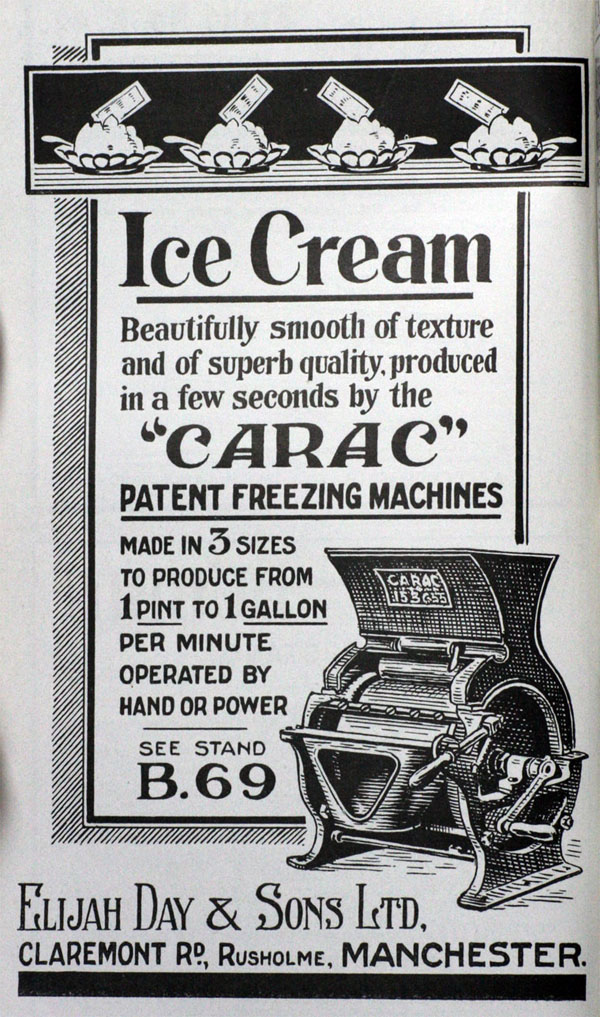 1922 advert Elijah Day & Sons ice cream machine
