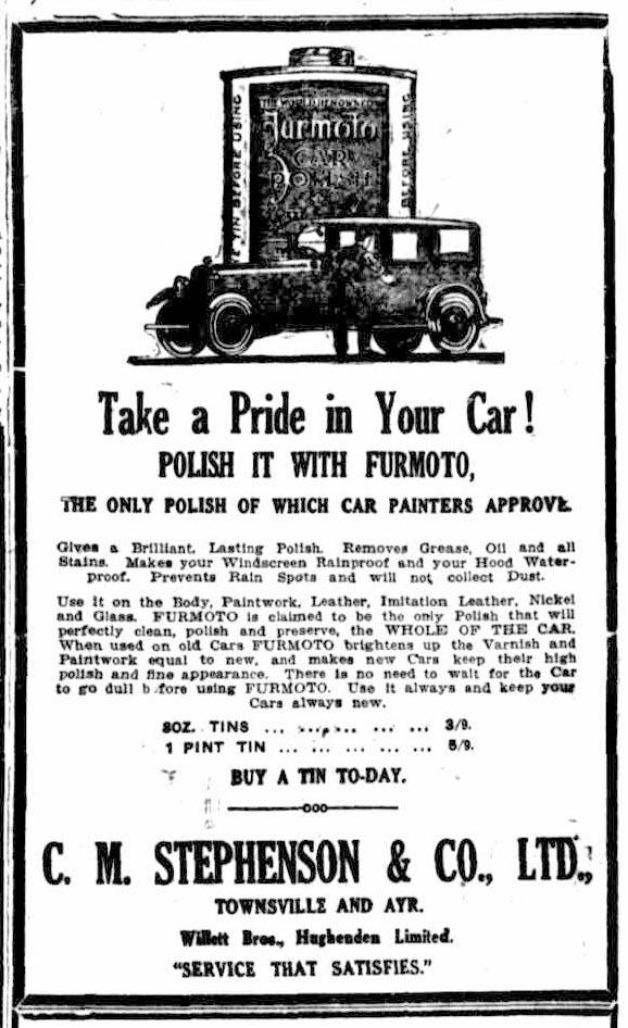 Furmoto 27Jan1925 - Townsville Daily Bulletin, Queensland, Australia